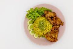 Riz jaune musulman avec le poulet Image stock