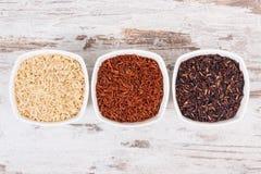 Riz noir, rouge et brun dans des bols en verre, concept sain de nutrition Photo stock