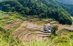 Riz-terrasses et village de Banga-An Image stock
