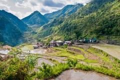 Riz-terrasses et village de Banga-An Photos libres de droits