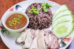 Riz thaïlandais de poulet photo stock