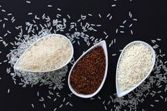 riz visqueux/collant du genre 3 de riz thaïlandais de jasmin de riz thaïlandais cru, riz brun dans des tasses blanches Photo libre de droits