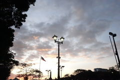Rizal Park Before Dawn. Sunset lights up the majestic sky as viewed from Rizal Park, Manila royalty free stock images