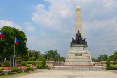 Rizal park landscape. Famous Philippine landmark, monument of national hero Jose Rizal at Rizal park Manila, Philippines royalty free stock photography