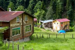 Mountain Houses in Ayder Plateau. RIZE, TURKEY - AUGUST 16, 2016 : General landscape view of famous Ayder Plateau in Camlihemsin, Rize. Ayder Plateau has wide Stock Images