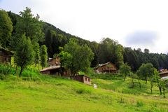Mountain Houses in Ayder Plateau. RIZE, TURKEY - AUGUST 16, 2016 : General landscape view of famous Ayder Plateau in Camlihemsin, Rize. Ayder Plateau has wide Stock Image
