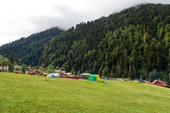 Mountain Houses in Ayder Plateau. RIZE, TURKEY - AUGUST 16, 2016 : General landscape view of famous Ayder Plateau in Camlihemsin, Rize. Ayder Plateau has wide Royalty Free Stock Photography