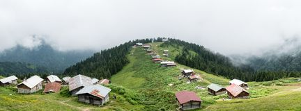 Panoramic view of Pokut plateau in blacksea karadeniz, Rize, Turkey. Rize, Turkey - July 2017: Panoramic view of Pokut plateau in blacksea karadeniz stock photography