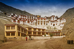 Rizong修道院,佛教寺庙, Leh,拉达克,查谟和克什米尔,印度 免版税库存图片