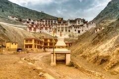 Rizong monastery with view of Himalayan mountians, Leh, Ladakh, Jammu and Kashmir, India. Stock Image