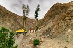 Rizong monastery with view of Himalayan mountians , Leh, Ladakh, Jammu and Kashmir, India. Royalty Free Stock Images
