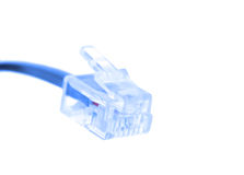 Rj-45 cable connector isolated on white Stock Image