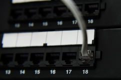 RJ11 cable connect to panel Stock Photography