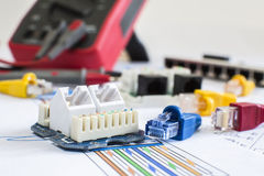 RJ45 connectors wall mountable and movable connectivity Stock Photography