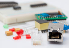 RJ45 and electronic part Royalty Free Stock Image