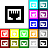 RJ45 icon. Set of the RJ45 connection related icons Royalty Free Stock Image
