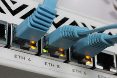RJ45 Lan cable connected to switch. Network RJ45 Lan cable connected to switch Royalty Free Stock Photography