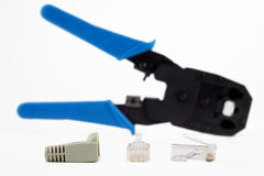 RJ45 Lan connector and Crimping tool. Stock Image
