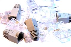 RJ45 connectors and covers Stock Photos