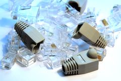 RJ45 Connectors and covers Stock Images