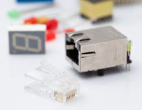 RJ45 and electronic part Stock Images