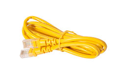 Rj45 jack with yellow cable Royalty Free Stock Photos