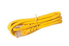 Rj45 jack with yellow cable Stock Photo