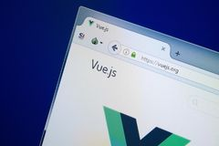 Rjazan', Russia - 26 agosto 2018: Homepage del sito Web di Vuejs sull'esposizione del PC URL - Vuejs org immagini stock libere da diritti