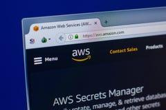 Rjazan', Russia - 16 aprile 2018 - homepage dei web service di Amazon - sito Web di AWS sull'esposizione del PC fotografia stock