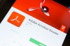 Rjazan', Russia - 24 giugno 2018: Cellulare app di Adobe Acrobat Reader sull'esposizione del PC della compressa fotografia stock libera da diritti