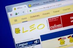 Rjazan', Russia - 5 giugno 2018: Homepage del sito Web di Leo sull'esposizione del PC, URL - Leo org immagini stock libere da diritti