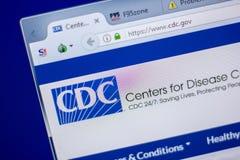 Rjazan', Russia - 5 giugno 2018: Homepage del vwebsite di CDC sull'esposizione del PC, URL - CDC governo fotografie stock libere da diritti