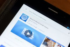 Rjazan', Russia - 24 giugno 2018: Icona federale di Credit Union della marina sulla lista dei apps mobili fotografie stock