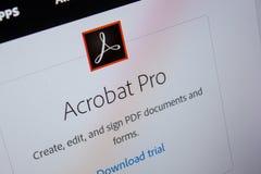 Rjazan', Russia - 11 luglio 2018: Adobe Acrobat pro, logo del software sul sito Web ufficiale di Adobe immagine stock