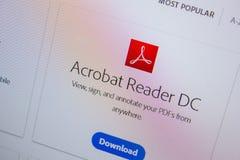 Rjazan', Russia - 11 luglio 2018: Adobe Acrobat Reader, logo del software sul sito Web ufficiale di Adobe fotografia stock