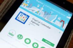Rjazan', Russia - 3 luglio 2018: Cellulare app di ordine del giorno del calendario di Digical sull'esposizione del PC della compr Fotografia Stock Libera da Diritti