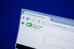 Rjazan', Russia - 24 luglio 2018: Homepage del sito Web di ConsumerReports sull'esposizione del PC URL - ConsumerReports org immagini stock