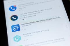Rjazan', Russia - 3 luglio 2018: Telefonate libere, SMS mandante un sms libero sull'icona libera di numero nella lista dei apps m immagine stock