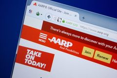 Rjazan', Russia - 9 settembre 2018: Homepage del sito Web di Aarp sull'esposizione del PC, URL - Aarp org immagini stock libere da diritti