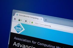 Rjazan', Russia - 9 settembre 2018: Homepage del sito Web di Acm sull'esposizione del PC, URL - Acm org fotografie stock libere da diritti