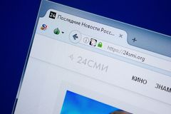 Rjazan', Russia - 9 settembre 2018: Un homepage di 24 siti Web dello SMI sull'esposizione del PC, URL - 24Smi org fotografia stock libera da diritti