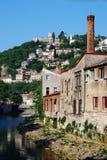 Rjecina flod och Trsat i Rijeka, Kroatien Arkivfoton
