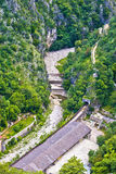 Rjecina flodbädd nära Rijeka den flyg- sikten Royaltyfri Bild