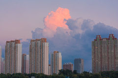 The rJilin city on the Banks of the songhua riverobot. Jilin songhua river, river,evening glow, clouds, rich layersum,sun island science and technology park Royalty Free Stock Image