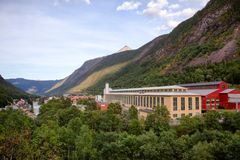 Rjukan townscape Rjukan诺托登联合国科教文组织工业遗产站点 库存图片