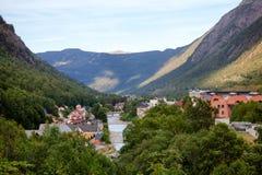 Rjukan townscape Rjukan诺托登联合国科教文组织工业遗产站点 图库摄影