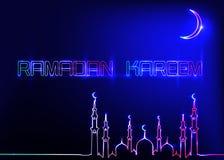 Ramadan Kareem greeting cards, neon sign style. Design template, light banner, night neon advert with crescent moon of mosque. Dome. Ramadan Mubarak, Glorious royalty free illustration