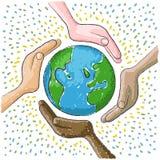 Ręka dookoła świata Zdjęcia Royalty Free
