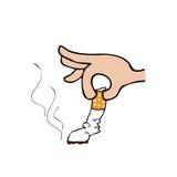 Ręka gasi papierosową kreskówkę Fotografia Royalty Free