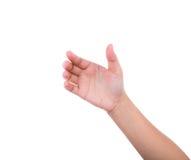 Ręka kobiety trzymać kartę, telefon komórkowego, pastylka peceta lub inny, Obraz Royalty Free